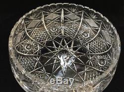 Large Cut Crystal Fruit Vase Bowl, 10 Diameter, 11 Widest, 4 1/2 High, 8 Lbs
