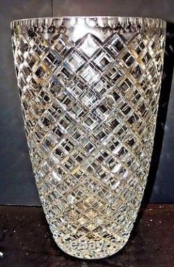 Large Czech Republic crystal cross cut vase