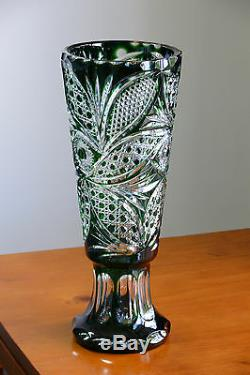 Large Decorative Vase GREEN Cased Crystal/ Cut to clear overlay RUSSIA New