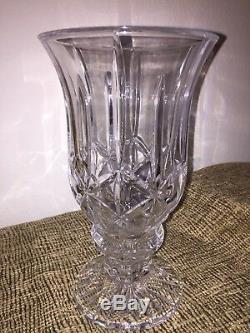 Large Deep Cut Crystal Pedestal Vase Footed Vase
