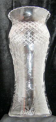Large Hand Cut Lead Crystal Vase 10 Vintage