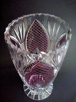 Large Hand Cut Lead Crystal Vase Cranberry Violet Amethyst Purple Pink