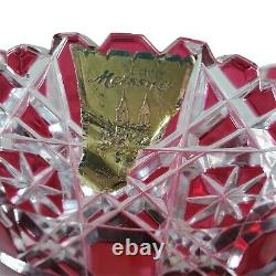 Large Heavy SIGNED MEISSEN Ruby Red Cut to Clear Roses Crystal Meissner Vase 16