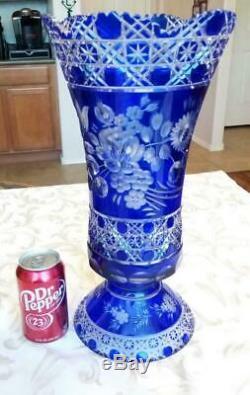 Large Meissen Crystal Cobalt Blue Cut to Clear Crystal Vase