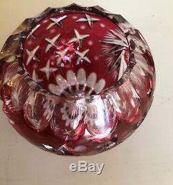 Large ROSE BOWL VASE Cranberry Red cut to clear crystal glass bohemian AJKA star