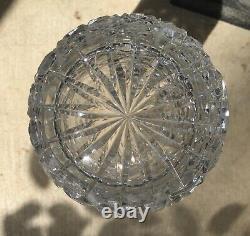 Large Round Antique Vintage American Brilliant Cut Crystal Vase