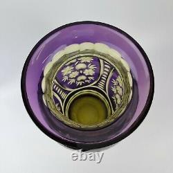 Large Vintage Bohemian Flash Cut Purple Vase With Flower Decoration 38.5cm High