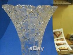 Large Vintage Brilliant Cut Crystal Glass Vase
