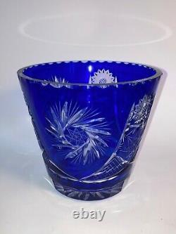 Large Vtg Cobalt Blue Crystal Art Glass Cut to Clear Bohemian Czech Bucket Vase