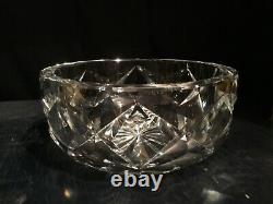 Large and Heavy St. Louis Cut Crystal Bowl 8 3/4 wide x 3 3/4 high, Signed