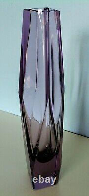 Large crystal cut Alexandrite vase Vintage Geometric mandruzzato 1