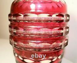 Large rare Val Saint Lambert vintage hand cut to clear red glass crystal vase