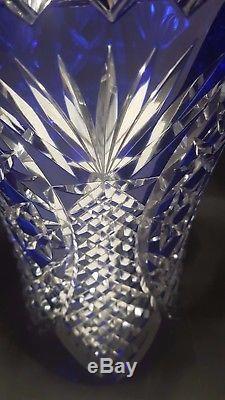 Lead Crystal Bohemian Hand Cut Cobalt Blue Vase