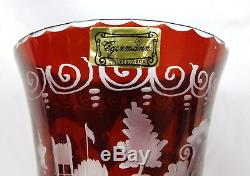 Lot 4 Egermann Bohemia Crystal Ruby Red Cut to Clear Vases Candle Stick & Bell