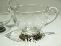 Lot 9 Vtg Sterling Silver & Crystal Glass Cut Wine Coaster Vase Gravy Boats/Cup
