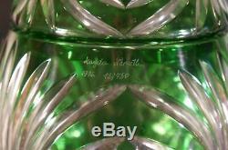 Magda Nemeth Design Cut to Clear Crystal Green Vase