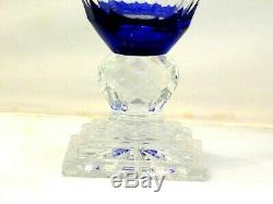 Magnificent Estate Rare Czech Crystal Blue Cut to Clear Vase
