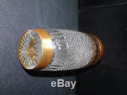 Magnificent Rare Large Brilliant Diamond Cut Crystal and Gold Leaf Border Vase