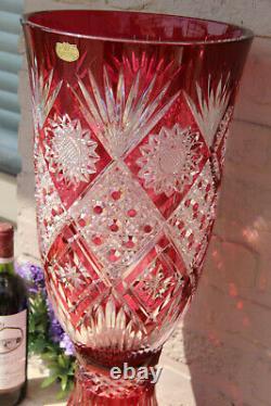 Majestical 24.8 Cristal de Paris Glass Crystal ruby red cut Vase with base