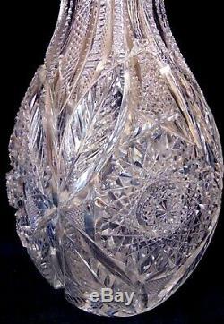 Massive ABP BRILLIANT CUT GLASS CRYSTAL Bulbous Vase Hobstars 14