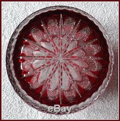Massive CRANBERRY RED PINK Vase CUT TO CLEAR 24% PbO Lead CRYSTAL Heavy GERMANY