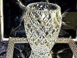 Massive Xlarge Hand Cut'diamond' Crystal Vase Bohemia 3.2 KG C 1960's
