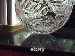 Matching Rose Bowl Vases, Bohemian Czech Glass brilliant cut lead crystal vtg