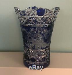 Meissen Crystal Cut Cobalt Blue Signed Glass Vase