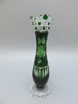 Meissen Crystal Cut To Clear Flower With London Green Vase 9 High Signed