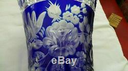 Meissen Crystal Cut To Clear Layered Cobalt Blue Signed Bohemian Glass Vase MINT
