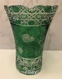Meissen Germany Emerald Green Cut to Clear Crystal Vase Flower of London 10