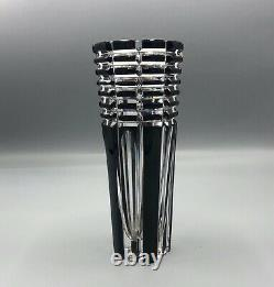 Mid century hand cut lead crystal art glass black Vase. Made in Czech Republic