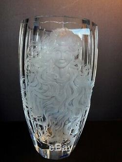 Milan Mottl Cut Crystal Medusa Vase Signed