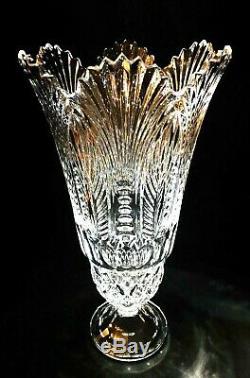 Monumental 16 Lead Crystal Fan Cut Saw Tooth Pedestal Vase, Extraordinary