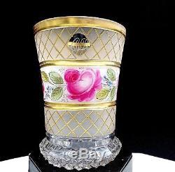Moser Bohemian Czech Crystal Diamond Cut Enamel Gold & Pink Vase 1860-1920