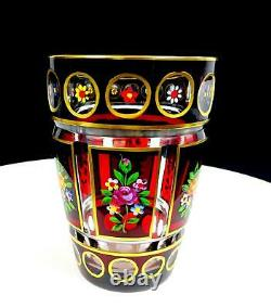 Moser Bohemian Czech Ruby Red Crystal Cut To Clear Painted Rose 5 1/8 Vase 1920