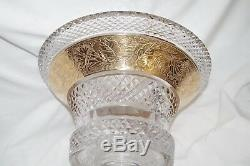 Moser Cameo Frieze Bohemian Crystal Cut Vase CENTERPIECE BOWL Gilt Gold