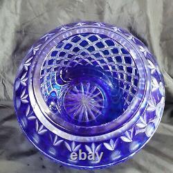 Moser Carlsbad Bohemian Cobalt Blue Cut to Clear Crystal Vase Pineapple Cut SIGN