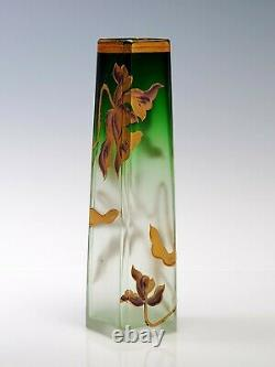 Moser Cut Crystal Green to Clear 5 Tall Cabinet Vase Gold Flower