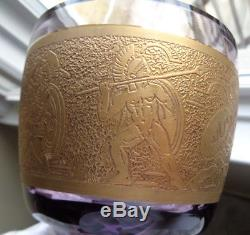 Moser Karlsbad Amethyst Art Glass Footed Vase Greek Warriors Frieze Cut Crystal