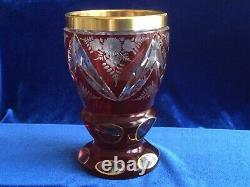 Moser Ruby Cut To Clear Etched Bohemian Heavy Gilded Crystal Moser Goblet/vase