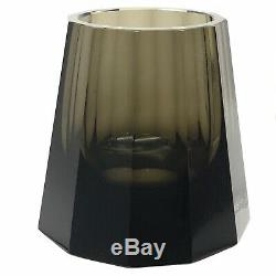 Moser Smoky Cut Crystal Vase Faceted to Foot Octagonal Cone 4.13 Lbs 5.5 Tall