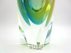 Murano Oball blue & gold prism cut sommerso & faceted art glass vase with labels