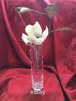 NIB FLAWLESS Exceptional BACCARAT Glass LEAF CUT DESIGN Crystal FLOWER BUD VASE