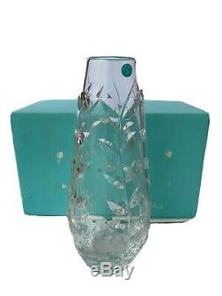 NOS Authentic Tiffany & Co Hand Cut Crystal Glass Floral Vine Vase 12 Tall