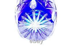 NWT Melnik Bohemian Czech CRYSTAL VASE Cobalt Blue Cut to Clear Glass