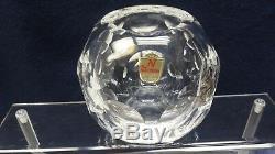 Nachtmann Cut Crystal Clear Rose Bowl Vase Vintage Blown Coin Dot Optic Dot Vase