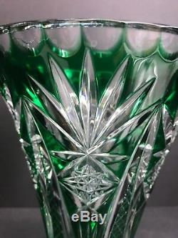 Nachtmann Germany Bamberg Emerald Green Cut to Clear Crystal Trumpet Shaped Vase