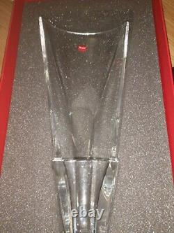 New large original signed Baccarat French cut crystal glass lay down diva vase