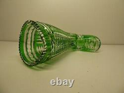 Nice Boot Vase Richly Cut Crystal Green And Clear Vintage Germany Shoe Glass